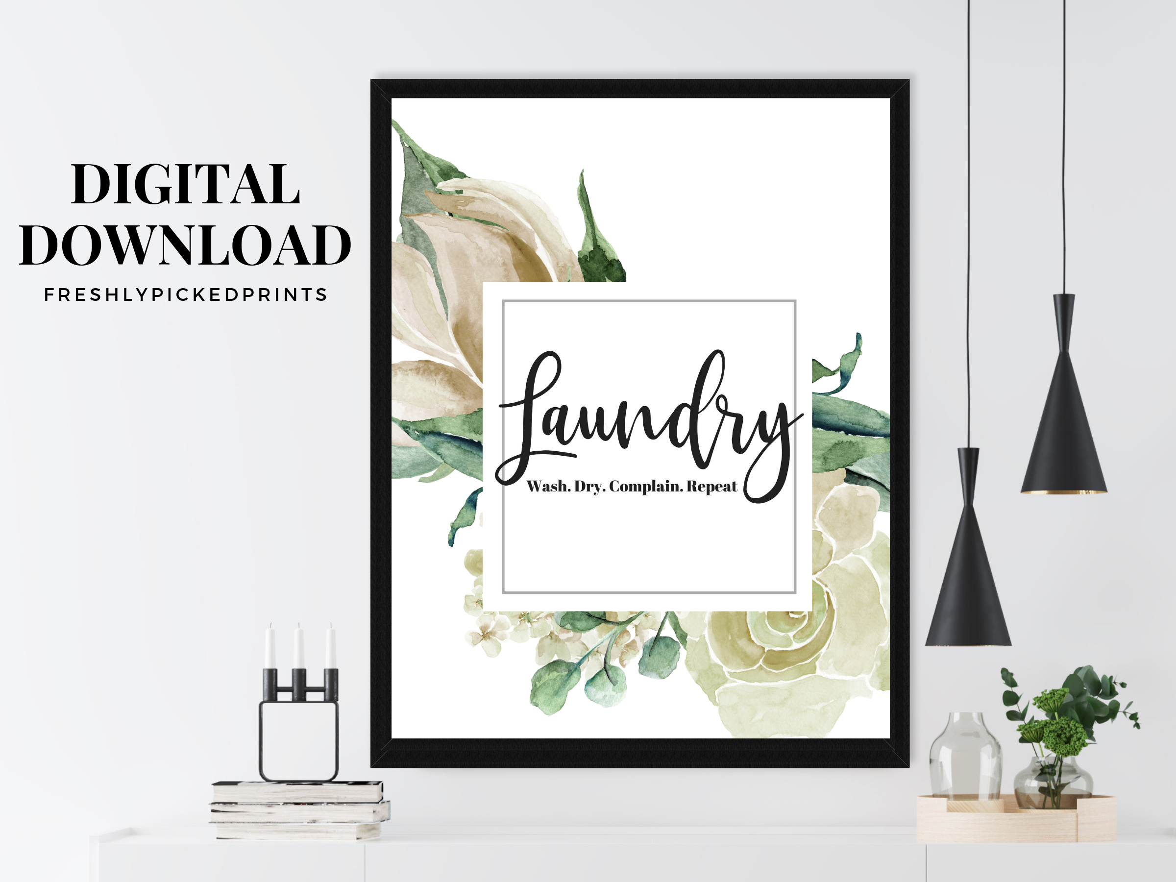 Watercolor Laundry Room Print Laundry Art Prints Laundry Room