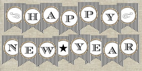 items similar to happy new year banner printable digital file black and white new years banner on etsy