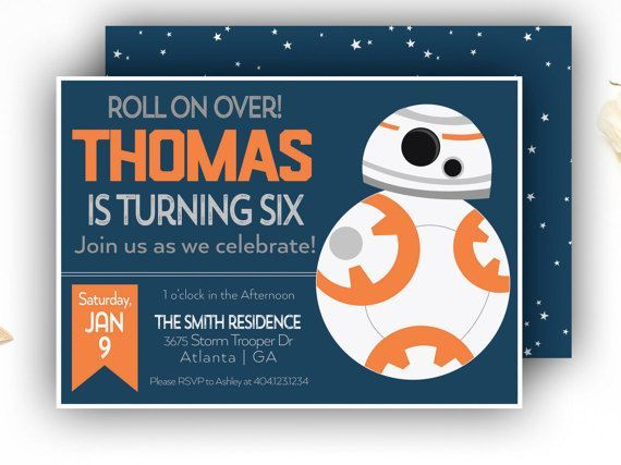 Star Wars Inspired Birthday Invitation Navy Blue BB FREE - Star wars birthday invitation diy