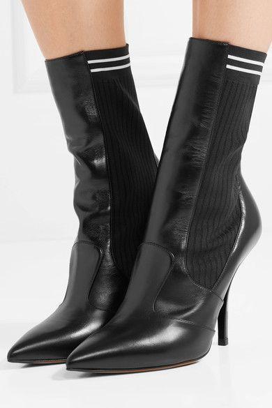 76ac0e8c1b30 Fendi - Rockoko Leather And Ribbed Stretch-knit Sock Boots - Black ...