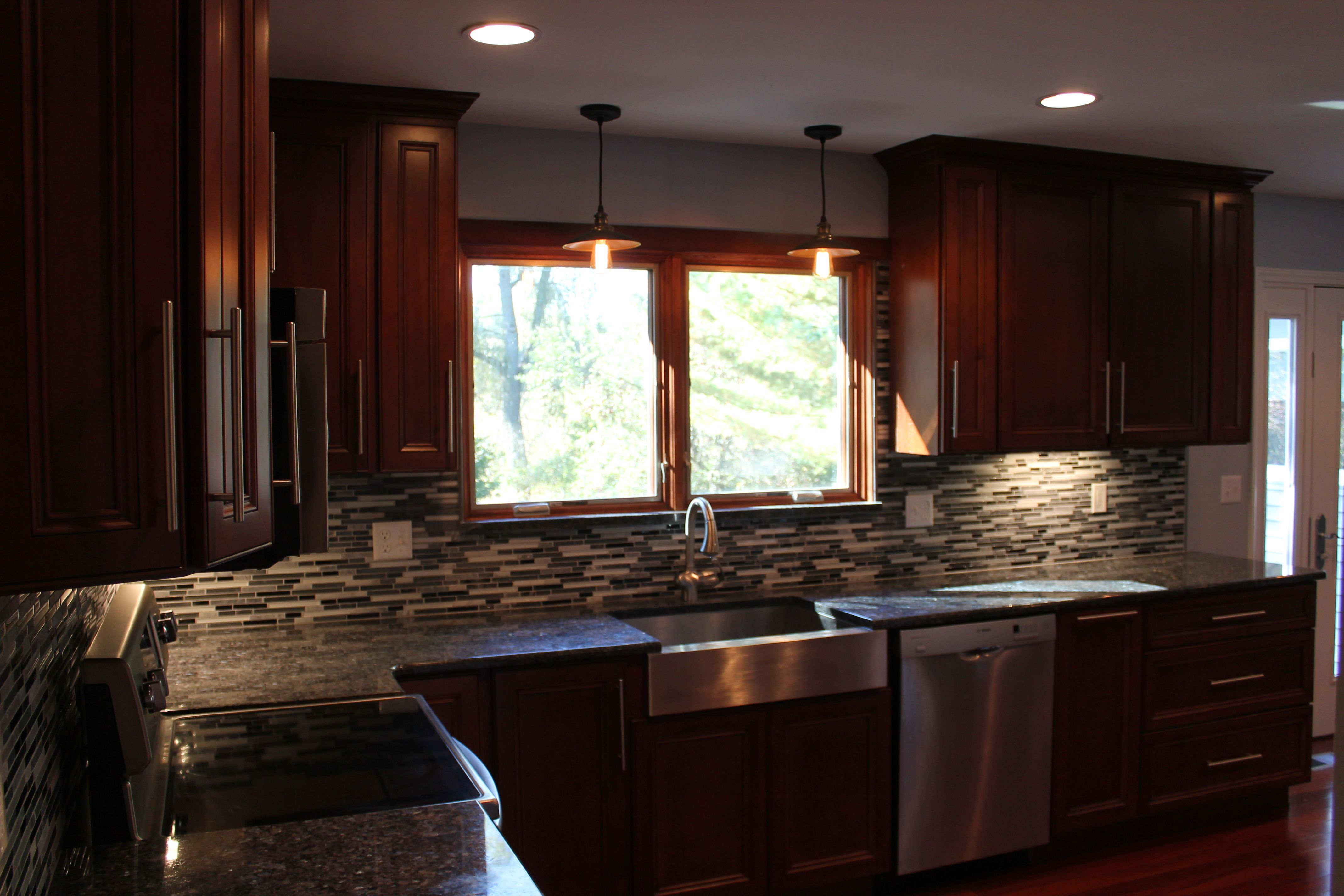 New Pioneer cabinets with Blue Pearl Granite | Kitchen | Pinterest ...