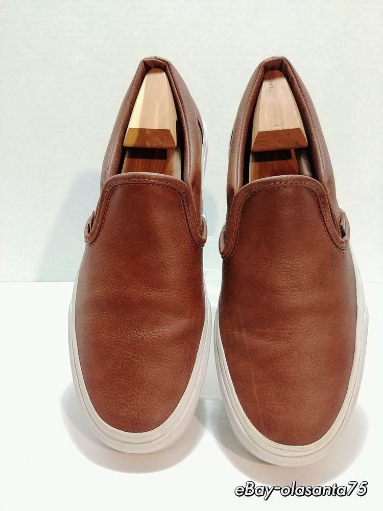 e753d468dd VANS Slip On Luxury Leather - Brown Sneaker V0MEL3DTC7H Size US 8.5 Men 10  Women  VANS  SkateShoes