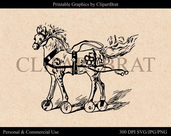 VINTAGE TOY HORSE Clipart Commercial Use Ok Antique by ClipArtBrat