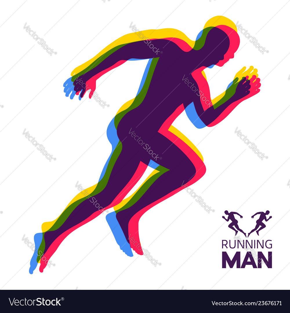 Silhouette Of A Running Man Design For Sport Vector Image On Vectorstock Men Design Silhouette Man Sports Logo Design