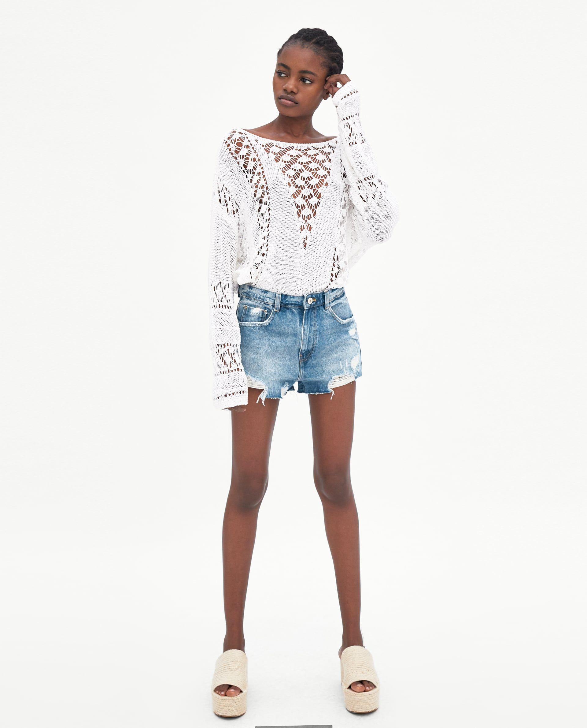 823e330b51 SHORT DENIM TIRO ALTO ROTOS | Zara | Denim shorts, Ripped denim, Shorts
