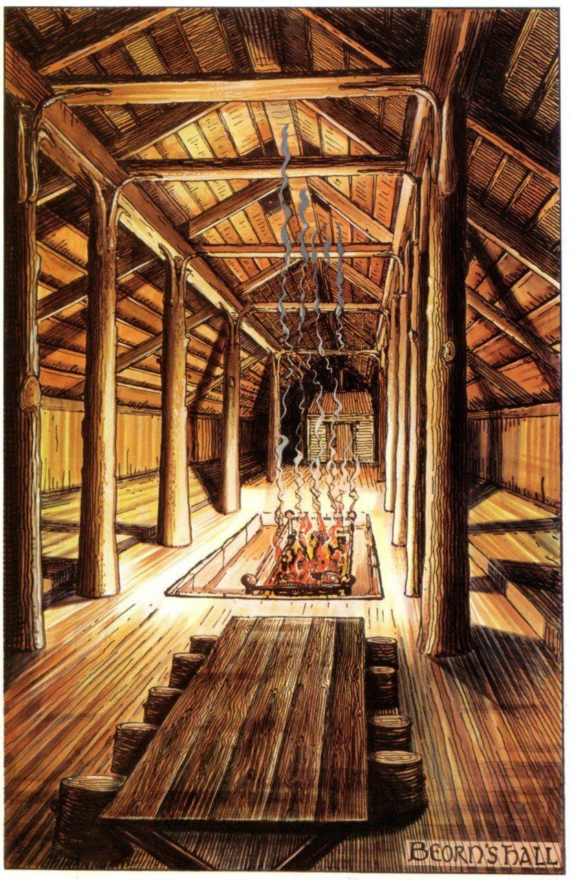 Vikings The Interior Of A Viking Chieftan S Longhouse Viking House Tolkien Illustration The Hobbit