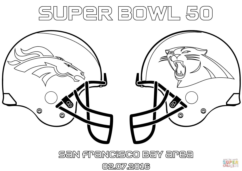 Super Bowl 50 Carolina Panthers Vs Denver Broncos Football Coloring Pages Denver Broncos Colors Super Bowl