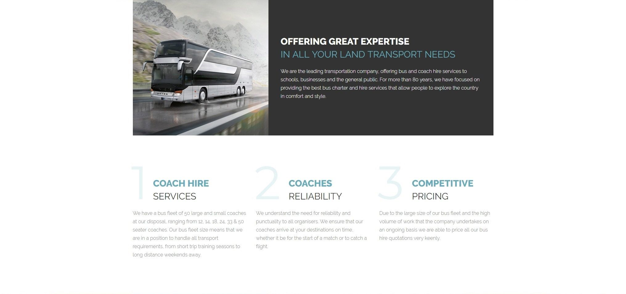 bus and coach hire bus website template website. Black Bedroom Furniture Sets. Home Design Ideas