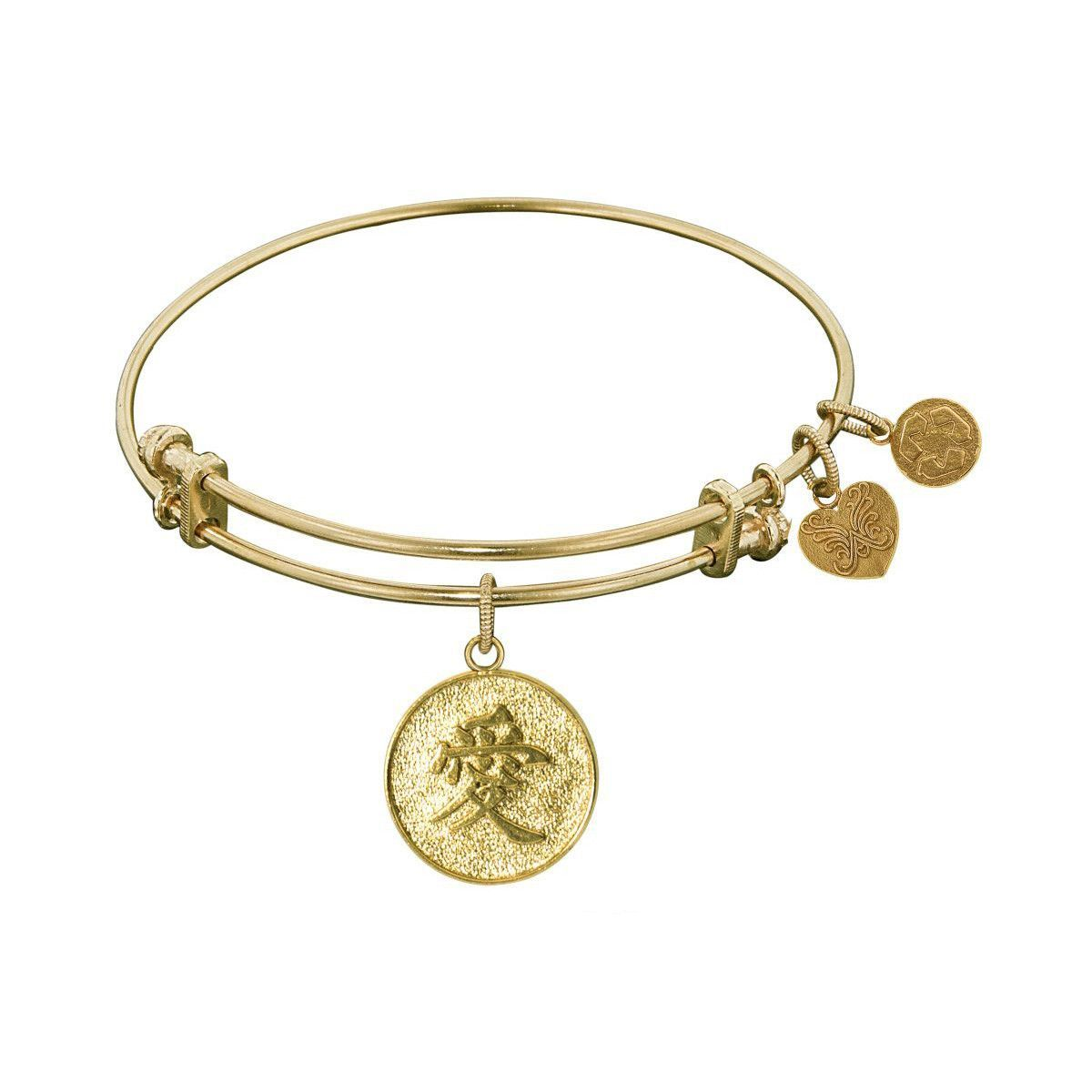Non-Antique Stipple Finish Brass Chinese Love Angelica Bangle, 7.25 Inches Adjustable