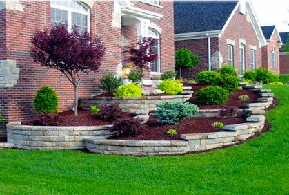 beautiful terraced foundation plantings