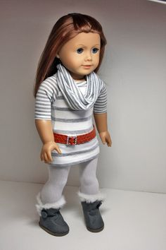 American Girl Doll Clothes-Tunic/Dress, Tights, Infinity Scarf and Belt