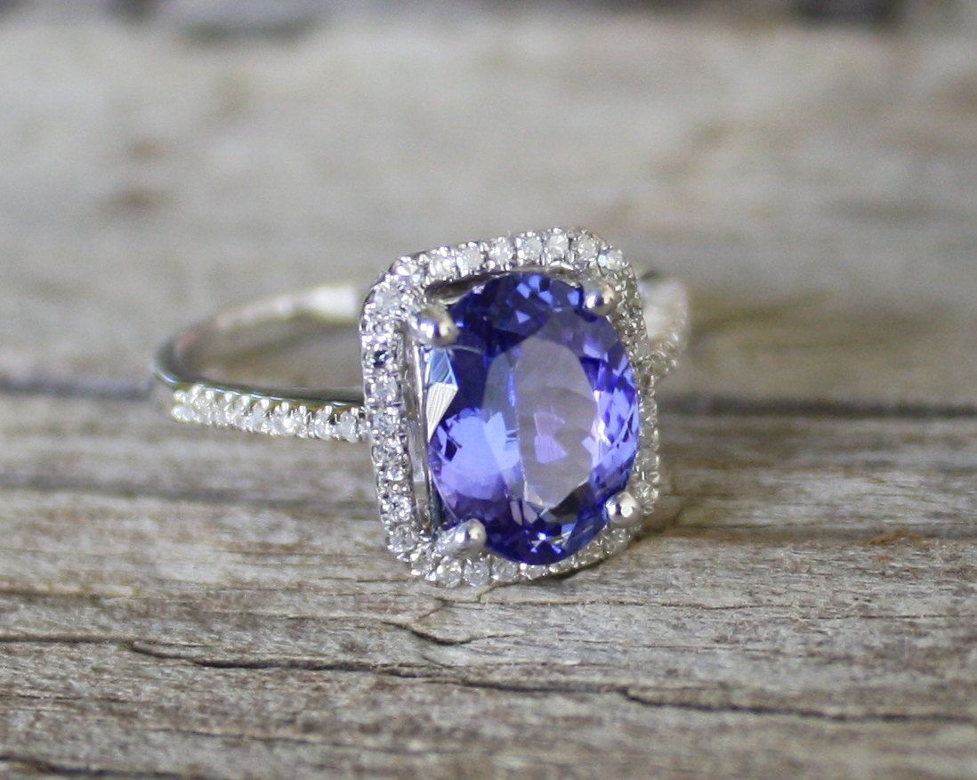 224 Cts Tanzanite Diamond Engagement Halo Ring In 14k Solid Gold  $2,13000, Via