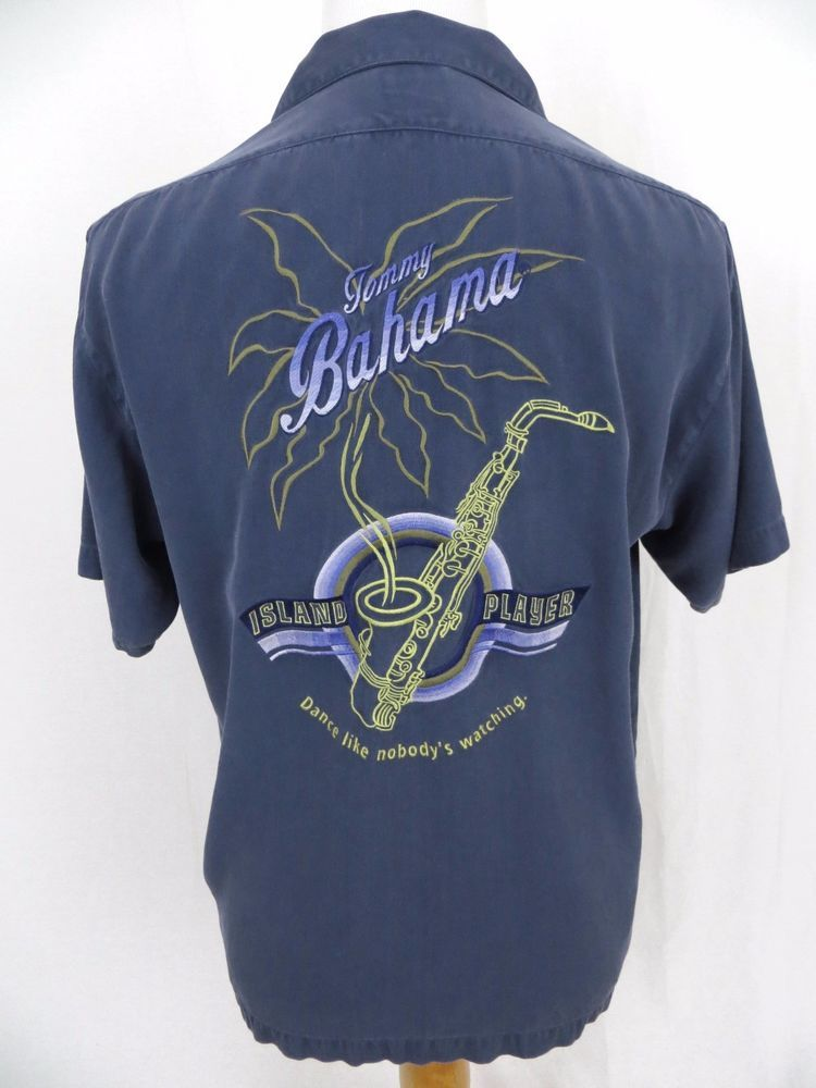 101dadeb Tommy Bahama Hawaiian Shirt Medium Island Player Jazz Saxophone Embroidered  Camp #TommyBahama #Hawaiian