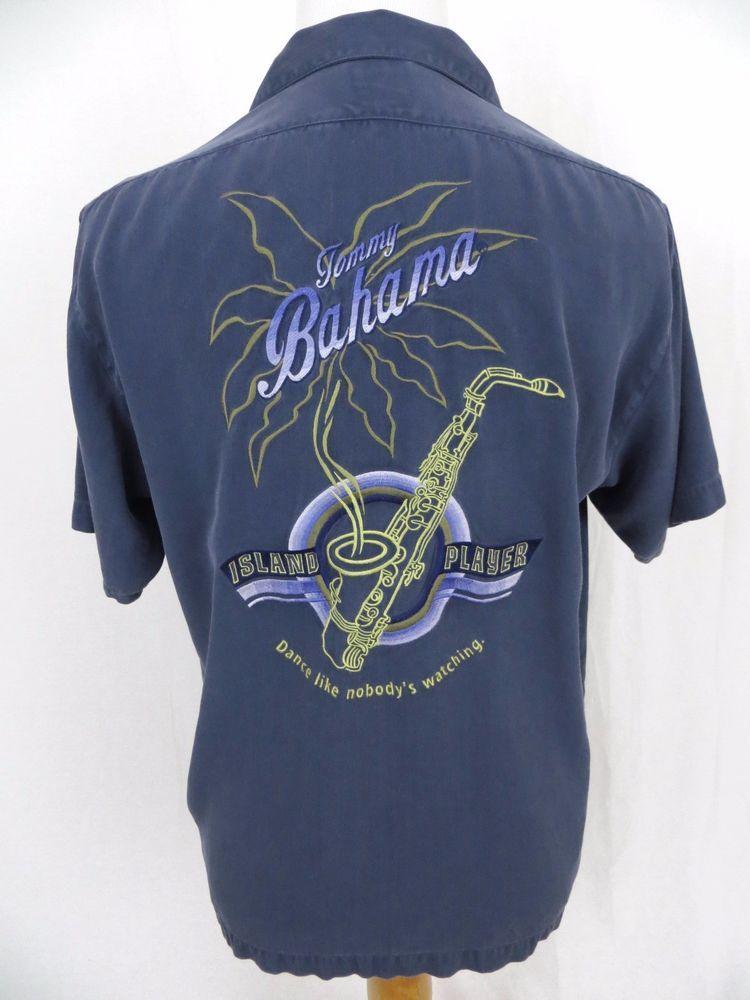 b9dd63e726df Tommy Bahama Hawaiian Shirt Medium Island Player Jazz Saxophone Embroidered  Camp #TommyBahama #Hawaiian