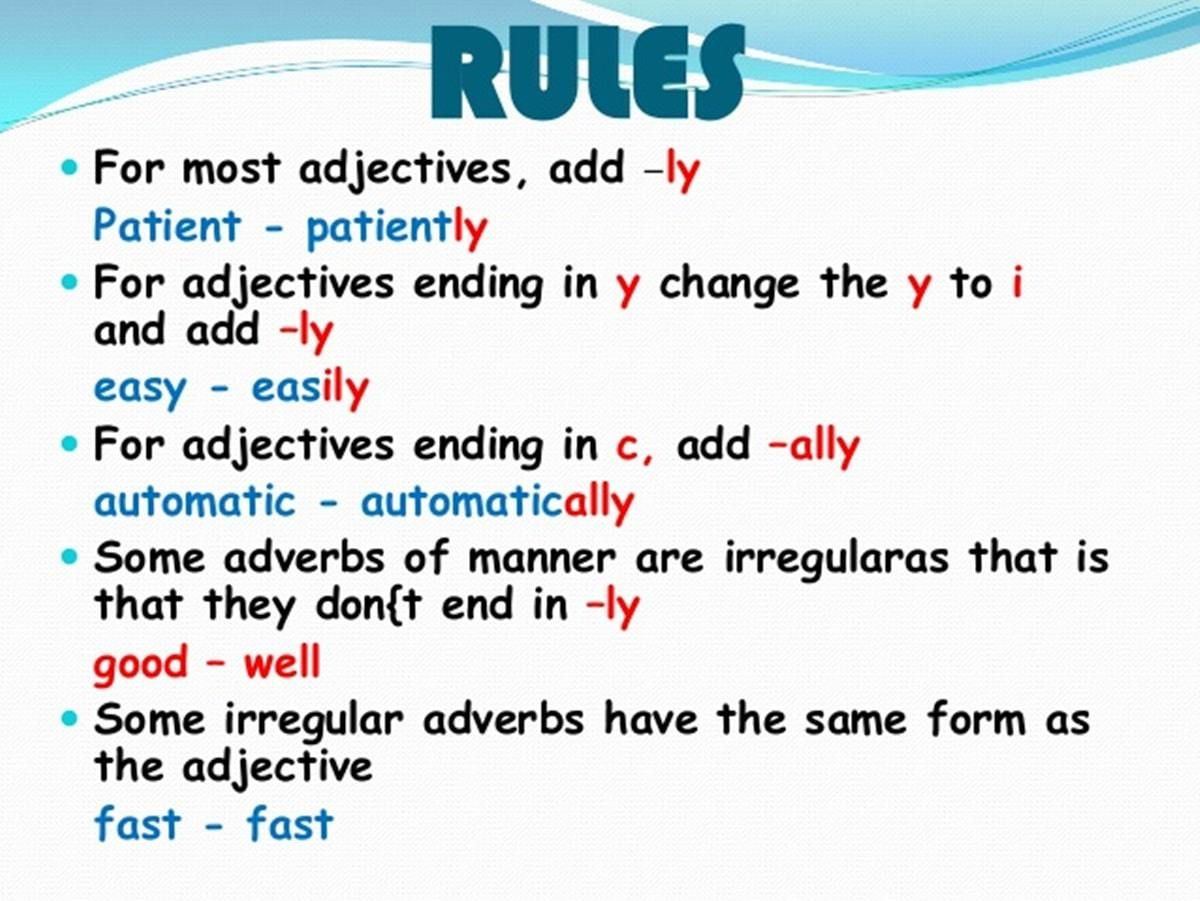 English Grammar Forming Adverbs From Adjectives With
