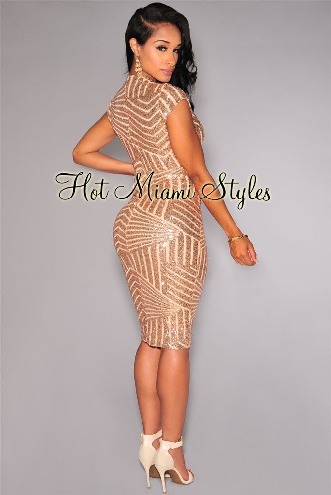 Rose Gold Sequins V Neck Nude Illusion Dress | ımm dress ...
