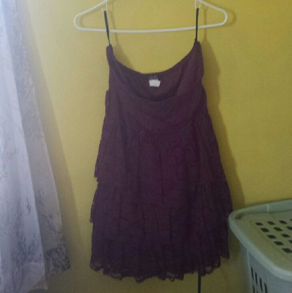 Strapless Lace Dress Strapless maroon colored dress with lace covering the whole dress. The bottom half has ruffles on it. Never worn since its waaaayyyyy too big for me so in perfect condition! Since it is too big for me I can't try it on.   No trades but willing to negotiate!! Deb Dresses Strapless
