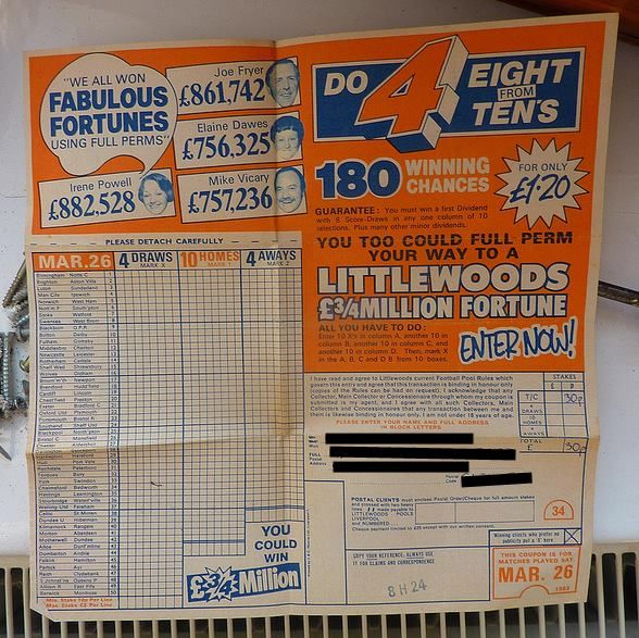 I remember my dad doing the football pools every week Kultur