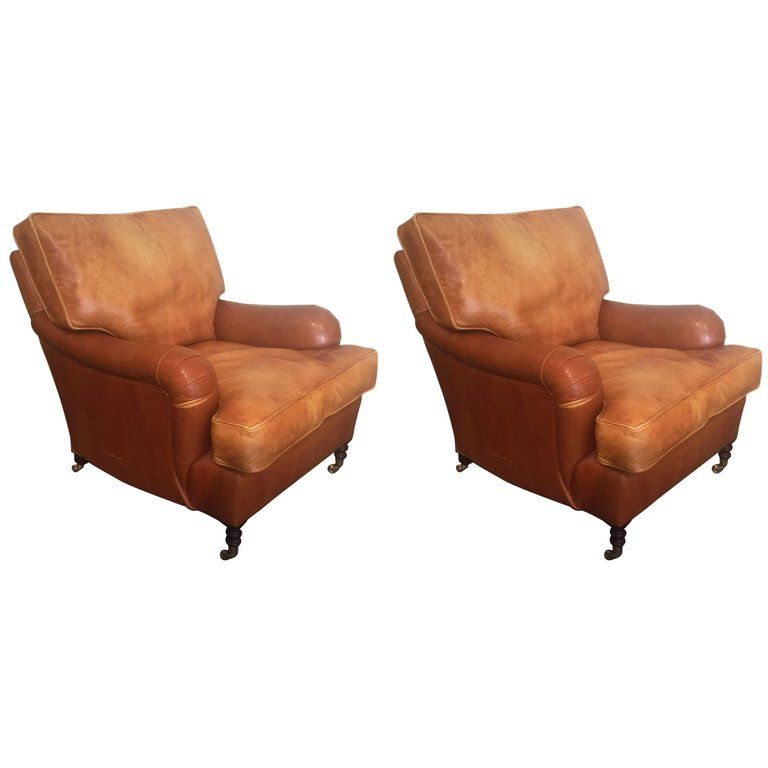 Enjoyable Pair Of Distressed Leather Club Chairs By George Smith Inzonedesignstudio Interior Chair Design Inzonedesignstudiocom