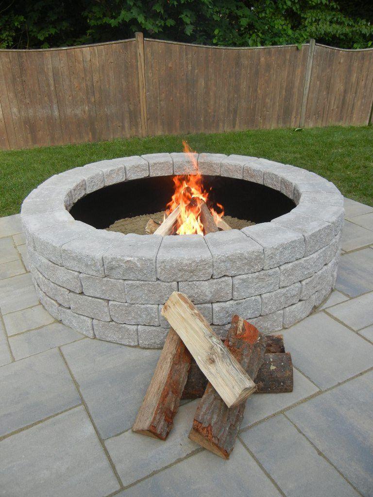 random stone brown round fire pit kit - Round Fire Pit