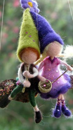 Waldorf inspired Needle felted Pixies musicians on bark with mushrooms Home decor Mobile