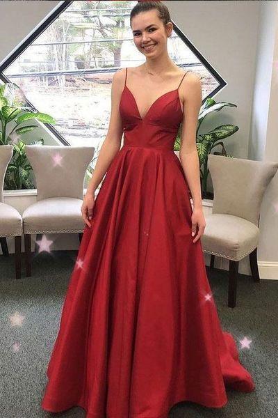 V neck Spaghetti Straps Red A Line Prom Dress, Long