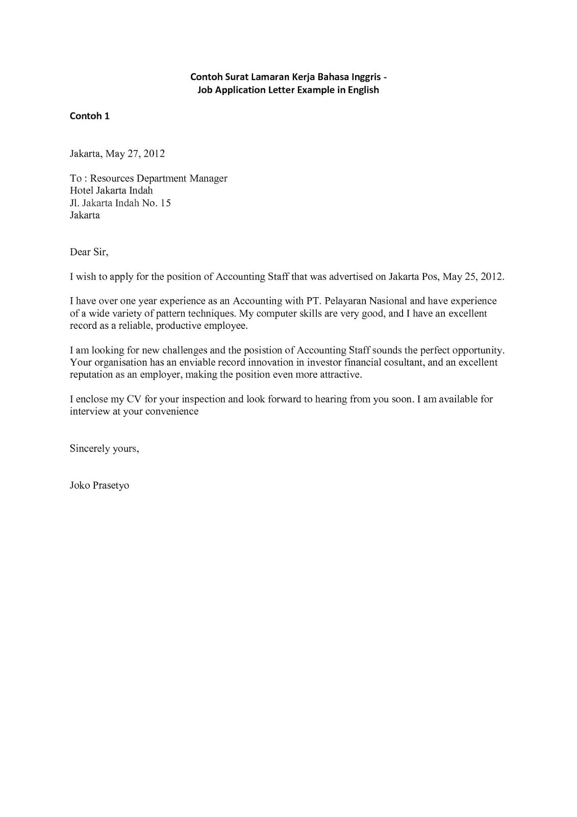 Surat Lamaran Kerja Bahasa Inggris Assistant Manager Bahasa Inggris Bahasa Inggris