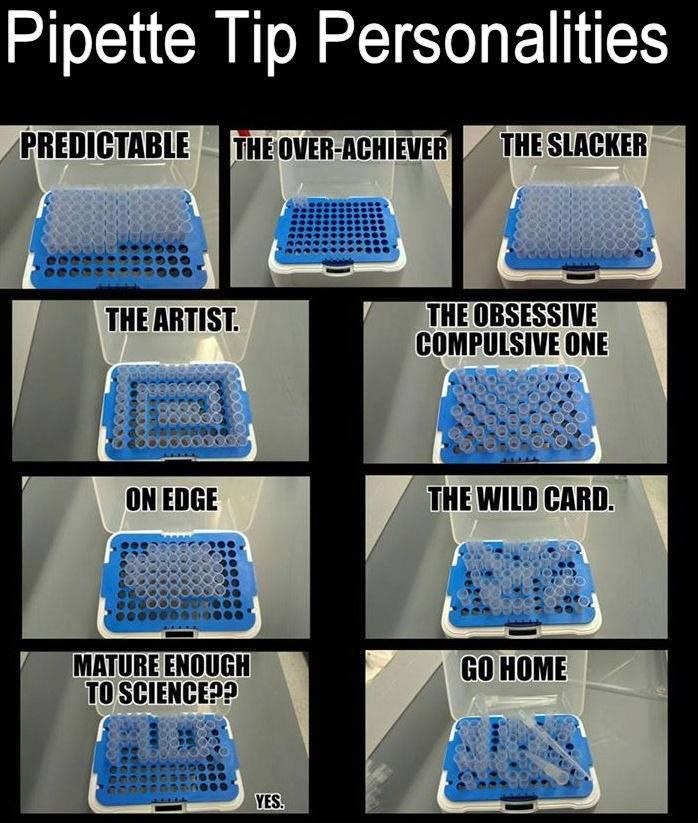 Pipette tip personalities - research lab funnies - science memes