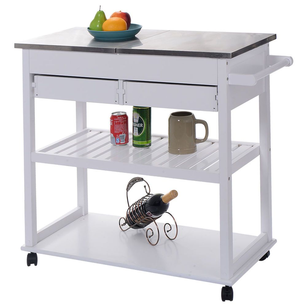 White Rolling Kitchen Trolley Cart Stainless Steel Flip Top W Drawers Casters Unbranded Kitchen Roll Kitchen Trolley Cart Rolling Kitchen Island