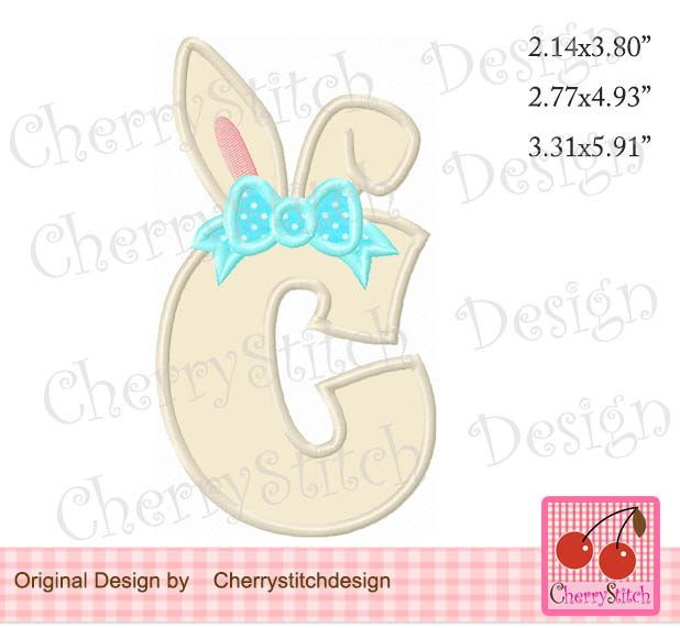 Easter Bunny Monogram C Letter C Machine Embroidery Applique Design
