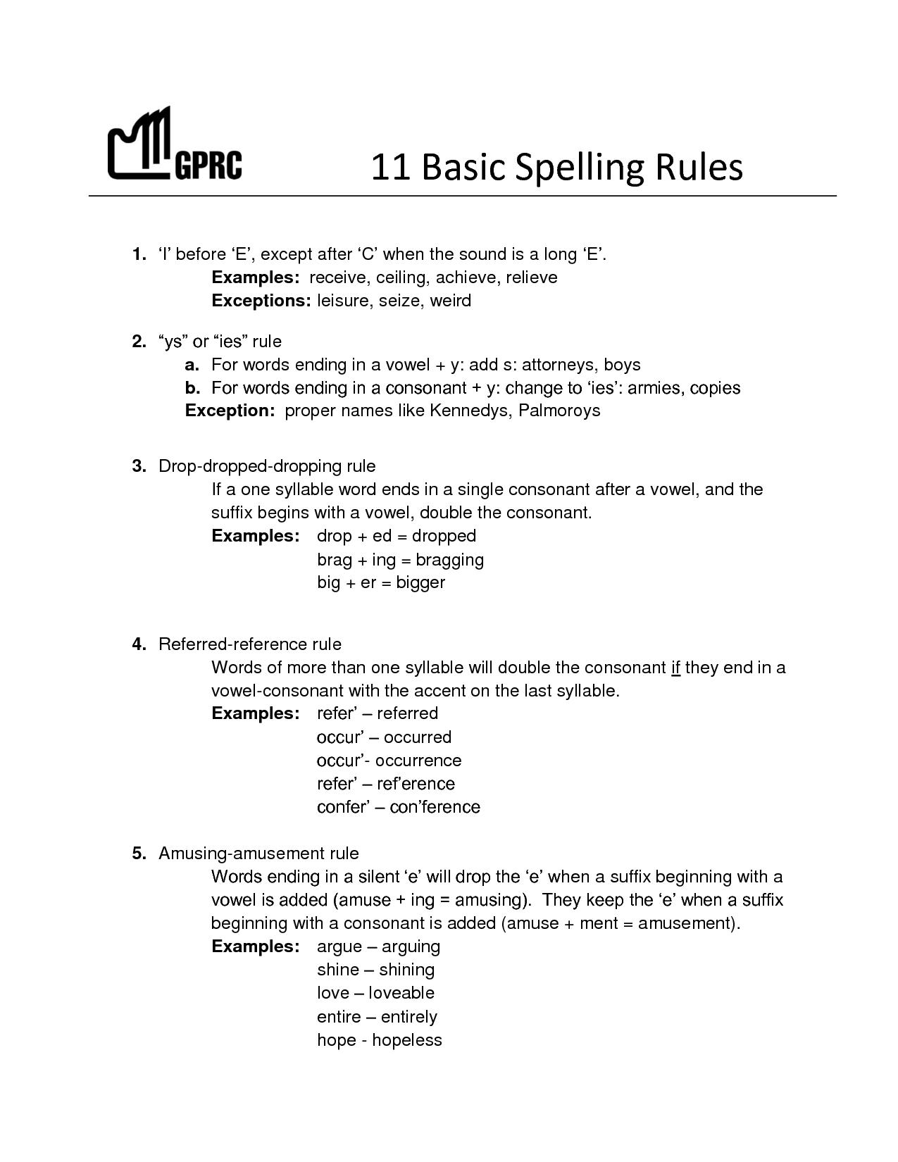 11 Basic Spelling Rules