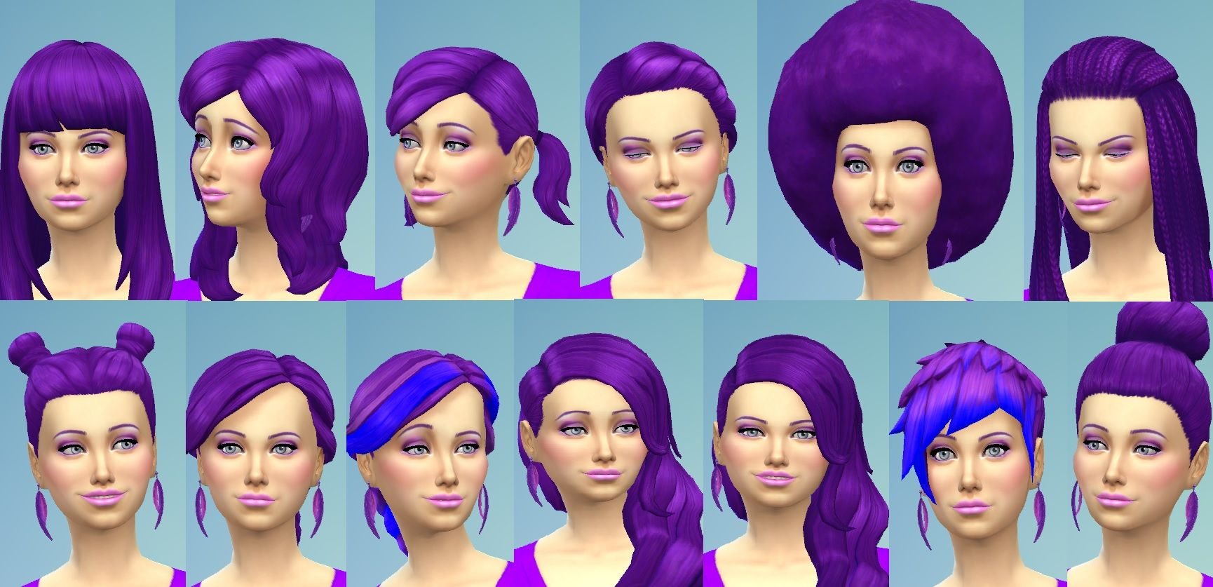 Mod The Sims Base Game Only Recoloured Female Hair Eyebrow Set In Purple Sims