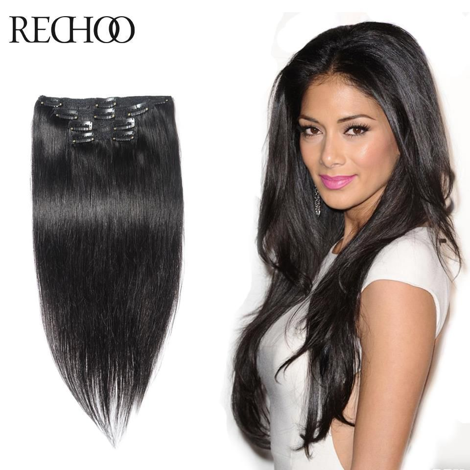 1 Unprocessed Black Hair Extensions Straight Clip In Human Real Hair
