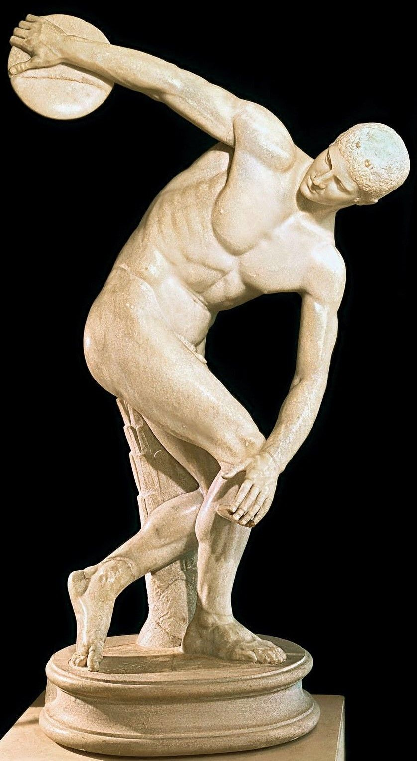 Discobolus, the Discus Thrower. The bronze original by the Greek sculptor Myron has been lost. This is a later Roman marble copy -- one of many -- of the original from 450-460 BC, in the classical period. - Palazzo Massimo alle Terme, Rome, Italy #greekstatue