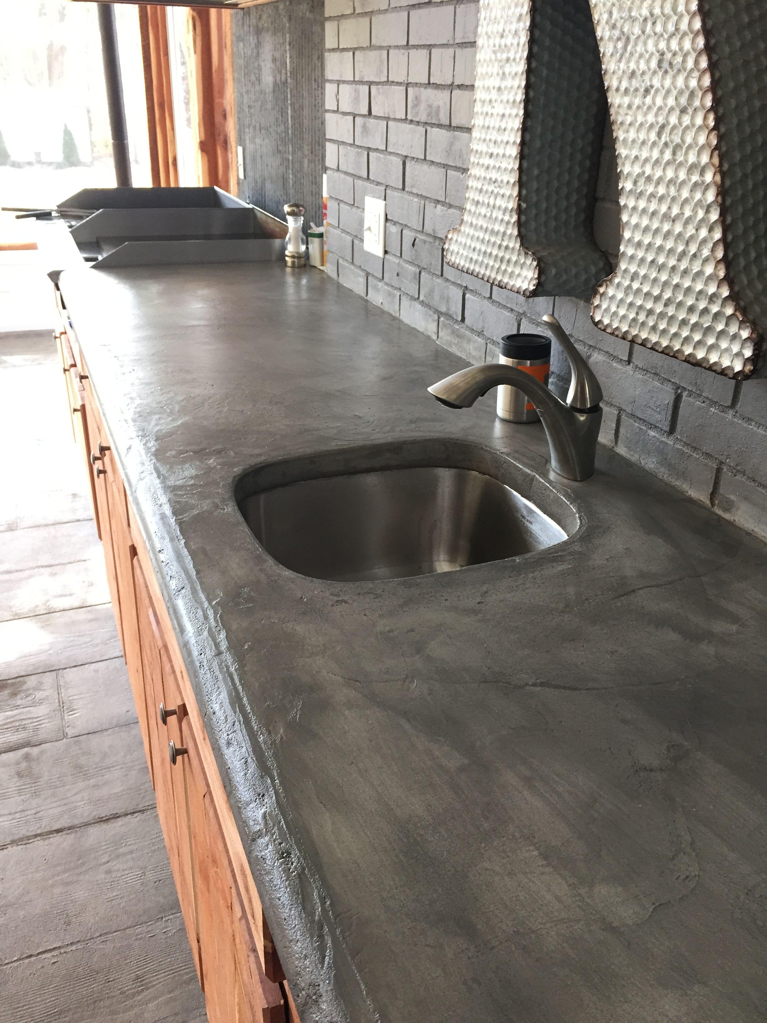 Concrete countertops on outdoor kitchen
