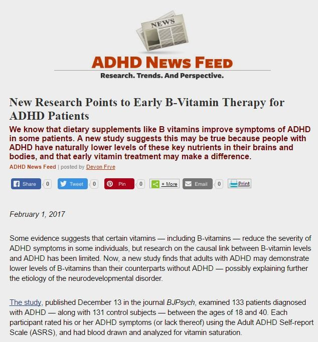 Adhd Real Brain Disorder Or Further >> B 2 B 6 And B 9 Vitamin Levels May Be Lower In People With