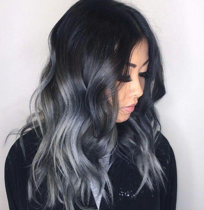 Gray Hair Ombre Silver Short Balayage Dark Black To
