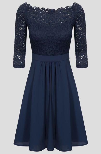 Glockenkleid mit Spitze - Blau | Kleider, Glockenkleid ...