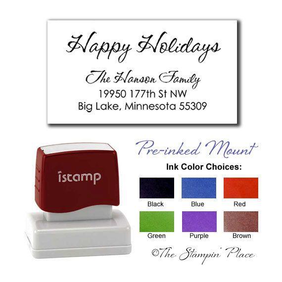 Custom Address Stamp - Happy Holidays Address - Preinked Style PR429. $25.95, via Etsy.