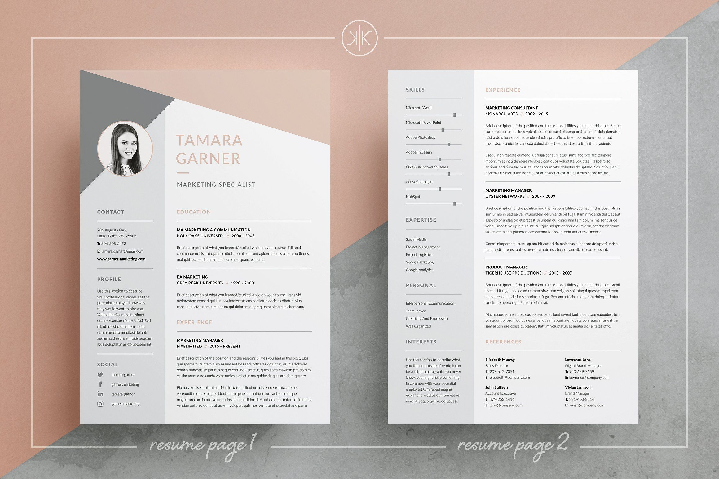 Marketing Campaign Template Word Resumecv  Tamarakeke Resume Boutique On Creativemarket A .