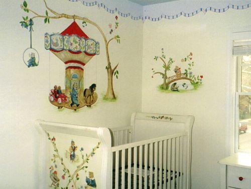 Nursery Mural With Hand Painted Crib Vintage Nursery