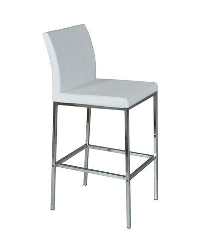 Aria Chrome Modern Barstool In White Leatherette