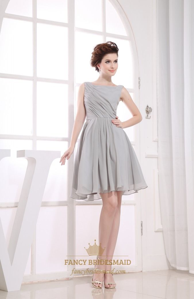 159a2ef814d2 FancyBridesmaid.com Offers High Quality Gray Short Pleated Chiffon A-Line  Bateau Bridesmaid Dresses
