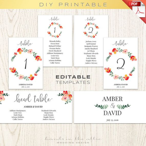 Wedding table numbers number printables seating chart floral - seating chart templates