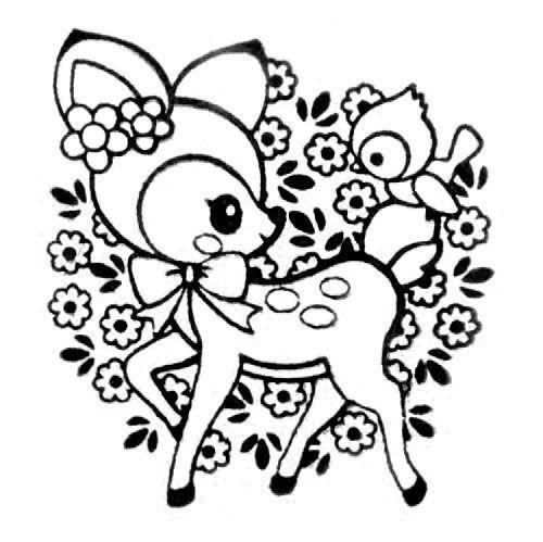 Cute Deer Stamp With Bird Flowers Kawaii Japan Cute Coloring Pages Disney Coloring Pages Coloring Books