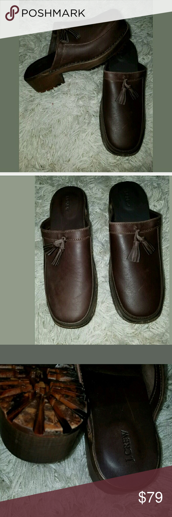 NWOB RARE J.Crew Leather Wooden Sole Clog Shoes J.Crew Tassel Leather Wooden Sole Clog Shoes Brown 10M/ 41 Gorgeous, shoes. Made in Italy.  2 inch heel.  .75 inch platform.    AB J. Crew Shoes Mules & Clogs