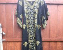 Afghan Ethnic Black and Gold Cotton Maxi Dress