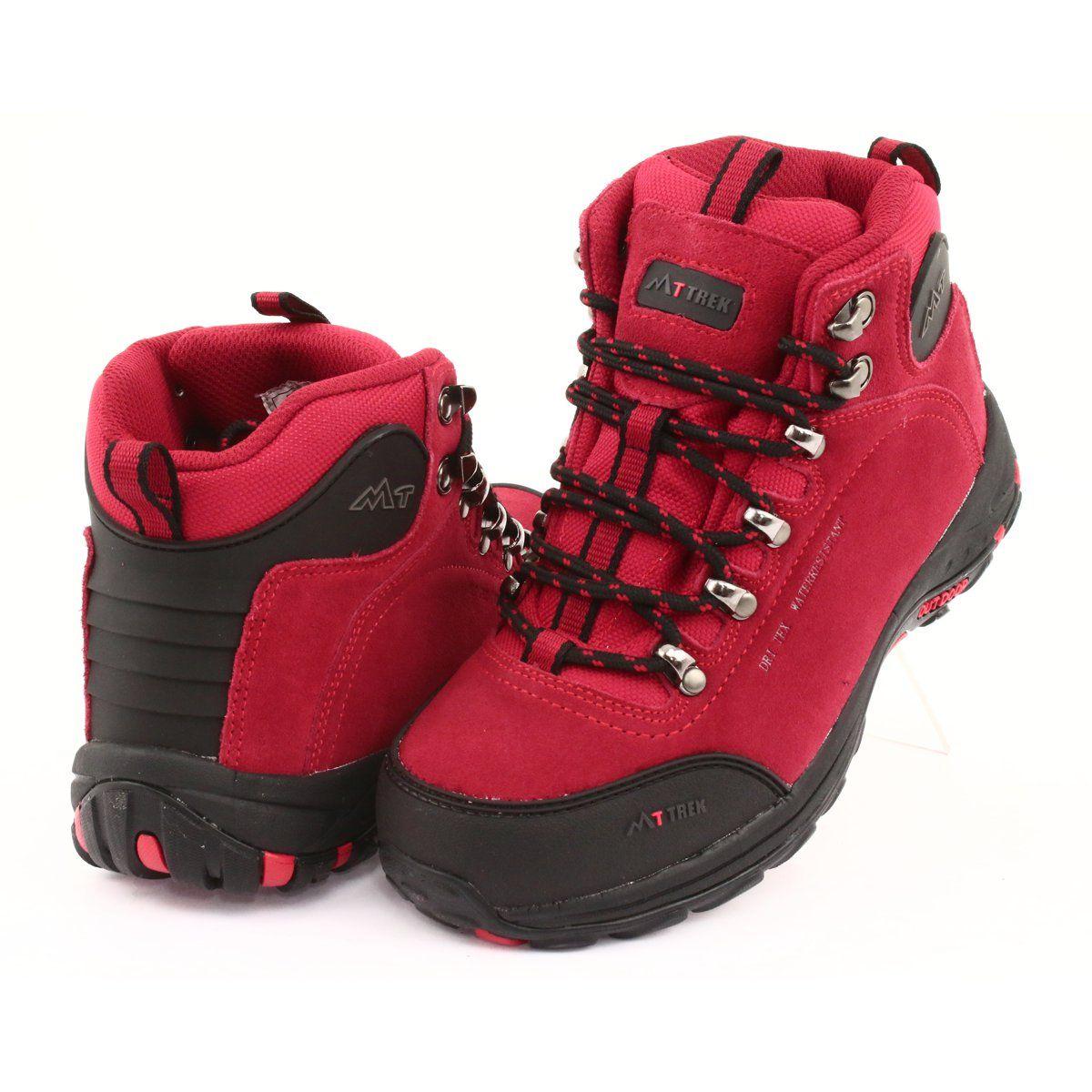 Trapery Z Membrana Mttrek 034 Red Czarne Czerwone Black And Red Trekking Shoes Women Shoes