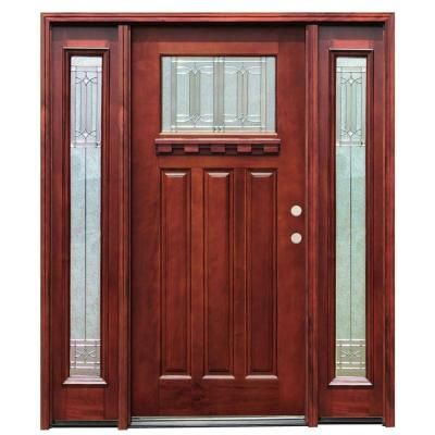 Pacific Entries Diablo Craftsman 1 Lite Stained Mahogany Wood Entry Door With Dentil Shelf And 14 In Sideli Wood Entry Doors Wood Exterior Door Craftsman Door