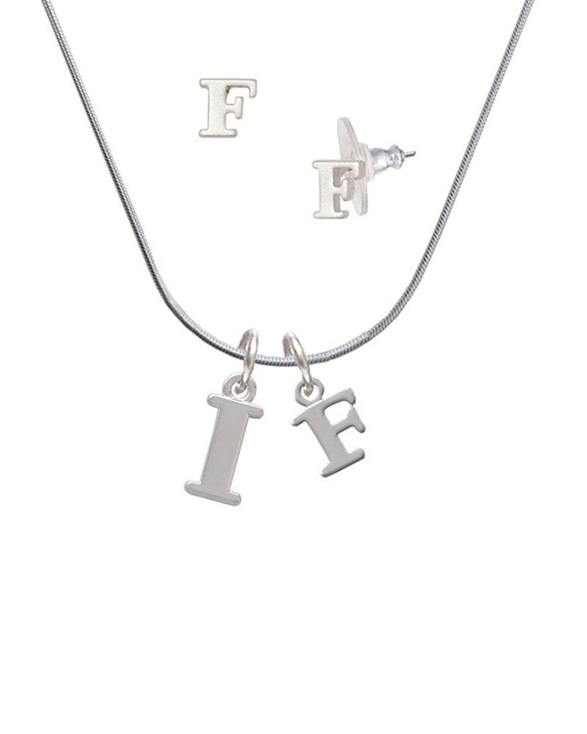 Silvertone Large Initial I F Charm Necklace And Stud Earrings Jewelry Set